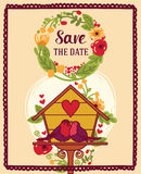Save the date card with cute birds couple Royalty Free Stock Photo