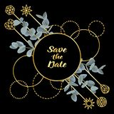 Save the Date card with Eucalyptus and golden Frame. Save the Date card with gold frame with eucalyptus and geometric elements on black background. Fashion Royalty Free Stock Photo