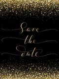 Save the date card with falling glitter confetti frame. Sparkling vector golden dust on black. Hand written custom calligraphy. Great for wedding invitations Royalty Free Stock Photos