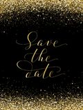 Save the date card with falling glitter confetti frame. Sparkling vector golden dust on black. Hand written custom calligraphy. Great for wedding invitations Royalty Free Stock Image