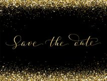 Save the date card with falling glitter confetti frame. Sparkling vector golden dust on black. Hand written custom calligraphy. Great for wedding invitations Royalty Free Stock Photography
