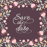 Save The Date. Card with flowers frame, vector illustration stock illustration