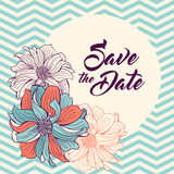 Save the Date card. Flowers on teal chevron background. Stock Images