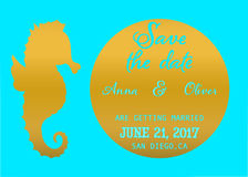 Save the date card, Gold and blue tropical wedding invitation card with gold seahorse silhouette on aqua background Stock Photography