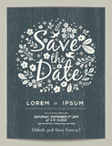 Save the date card with hand drawn illustration Stock Photos