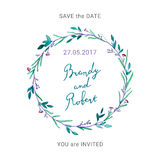 Save the Date card with hand drawn lettering and floral wreath. Royalty Free Stock Photos