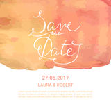 Save the Date card with hand drawn lettering and watercolor spla Royalty Free Stock Photo