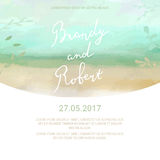 Save the Date card with hand drawn lettering and watercolor spla Royalty Free Stock Photography
