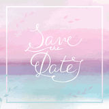 Save the Date card with hand drawn lettering and watercolor spla Royalty Free Stock Images