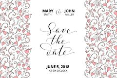 Save the date card with hearts pattern background, invitation template. Hand written custom calligraphy. Stock Photo