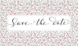 Save the date card with hearts pattern background, invitation template. Hand written custom calligraphy. Royalty Free Stock Photography