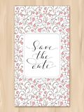 Save the date card with hearts pattern background, invitation template. Hand written custom calligraphy. stock photography