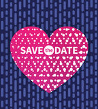 Save the date card, invitation with text on heart Royalty Free Stock Photography
