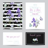 Save the Date Card with Iris Flowers and Butterflies. Floral Wedding Invitation Templates Set. Botanical Design for Greeting Card. S. Vector illustration royalty free illustration