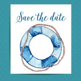 Save the date card layout for nautical wedding Royalty Free Stock Image