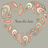 Save the date card with paisley frame. In romatic colors Stock Photo