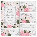 Save the date card with pink camellias, white anemone flowers and alstroemeria. Holiday floral design for wedding invitation. Vintage hand drawn vector Royalty Free Stock Image