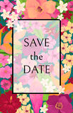 Save the Date Card with Red, Pink and Yellow Flowers Royalty Free Stock Photo