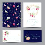 Save the Date Card Set with Blossom Pink Flowers and Golden Elements. Wedding Invitation, Anniversary Party, Decoration. RSVP Floral Template. Vector Stock Photos