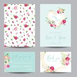 Save the Date Card Set with Blossom Pink Flowers and Golden Elements. Wedding Invitation, Anniversary Party, Decoration. RSVP Floral Template. Vector Royalty Free Stock Images