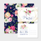 Save the Date Card Set with Blossom Pink Flowers and Golden Elements. Wedding Invitation, Anniversary Party, Decoration Royalty Free Stock Photos