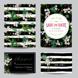Save the Date Card Set. Tropical Orchid Flowers and Leaves Wedding Invitation. Vector Stock Photo
