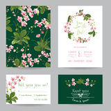Save the Date Card Set. Tropical Orchid Flowers and Leaves Wedding Invitation. Vector Royalty Free Stock Image