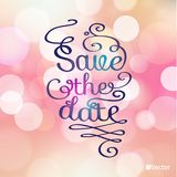 Save the date card on soft colorful background. Stock Images