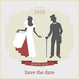 Save the date card template with bride and groom. In retro style and laconic colors with red emphasis Stock Photography