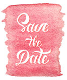 Save the Date card template with handdrawn unique typography Stock Photos