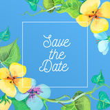 Save the Date card template with romantic summer flowers on a blue background. Royalty Free Stock Images