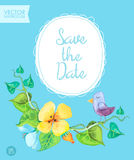 Save the Date card template with romantic summer flowers and cute bird on a blue background. Royalty Free Stock Images