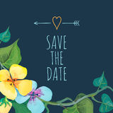 Save the Date card template with romantic summer flowers on a dark background. Stock Images