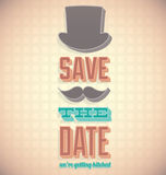 Save the Date Card with Top Hat. Vintage style Wedding save the date card with top hat and mustache Royalty Free Stock Photos