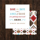 Save the date card with tribal ornaments Royalty Free Stock Images