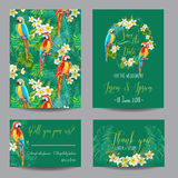 Save the Date Card - Tropical Flowers and Birds - for Wedding Royalty Free Stock Photography