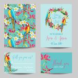 Save the Date Card - Tropical Flowers and Birds - for Wedding Royalty Free Stock Images