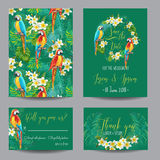 Save the Date Card - Tropical Flowers and Birds - for Wedding Royalty Free Stock Image