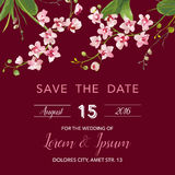 Save the Date Card. Tropical Orchid Flowers and Leaves Wedding Invitation Royalty Free Stock Photography