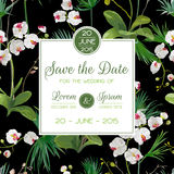 Save the Date Card. Tropical Orchid Flowers and Leaves Wedding Invitation stock illustration