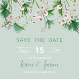 Save the Date Card. Tropical Orchid Flowers and Leaves Wedding Invitation Royalty Free Stock Image