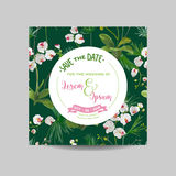 Save the Date Card. Tropical Orchid Flowers and Leaves Wedding Invitation Stock Image