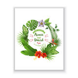 Save the date card with tropical wreath Royalty Free Stock Photo
