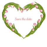 Save the date card with tulip. EPS 10 Royalty Free Stock Images