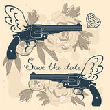Save the date card with two flying guns and. Flowers. vector illustration Royalty Free Stock Photo