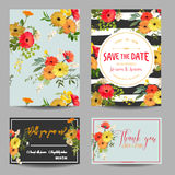 Save the Date Card. Vintage Summer Flowers and Leaves. Wedding Invitation, RSVP Royalty Free Stock Images