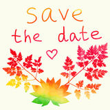 Save the date card. Watercolor rainbow. Royalty Free Stock Images
