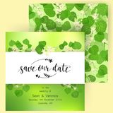 Save the date card, wedding invitation, greeting card with beautiful flowers, green leaves of linden and letters Royalty Free Stock Photography