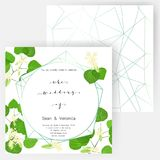 Save the date card, wedding invitation, greeting card with beautiful flowers, green leaves of linden and letters. The wedding of Stock Images