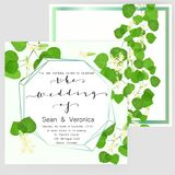 Save the date card, wedding invitation, greeting card with beautiful flowers, green leaves of linden and letters. The wedding of Royalty Free Stock Image